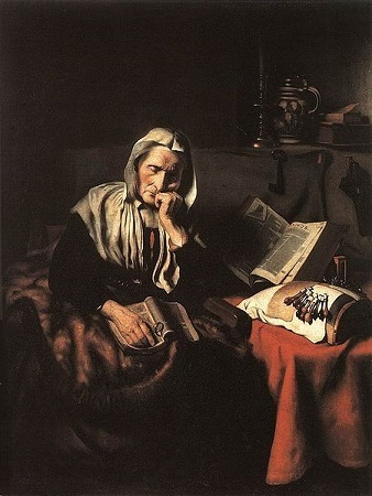 Old Woman Dozing - Nicolas Maes (1656)
