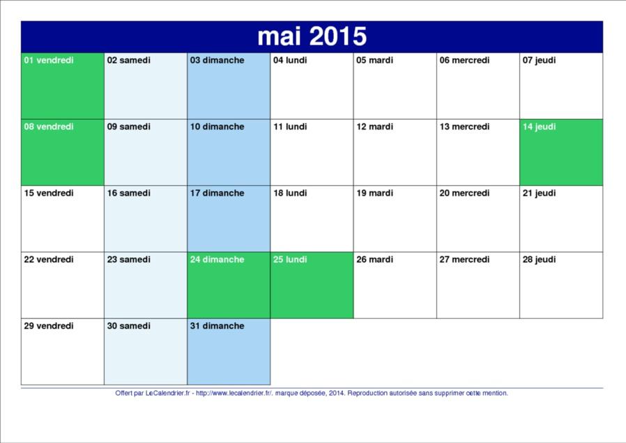 Y voir clair dans les jours fériés de Mai